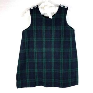 Andrew Todd Girl's Green Plaid Silver Button Dress